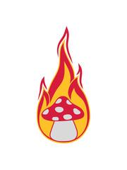 feuer brennen flammen heiß pilz fliegenpilz rot punkte essen giftig lecker hunger drogen trip wald sammeln kochen clipart design comic cartoon