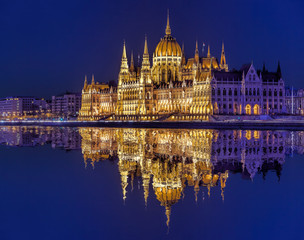 Wall Mural - Parliament building of Budapest above Danube river in Hungary at night.