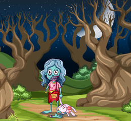 Young zombie girl in the dark wood