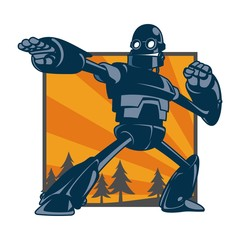 Vector illustration of giant robot