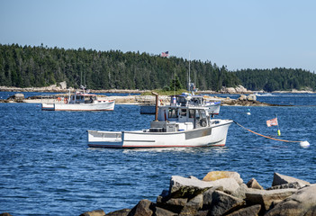 Panoramic View of a Maine Harbor where Lobster Boats are Anchored