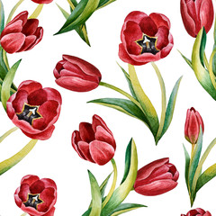 Illustration of watercolor hand drawn pattern with red tulip flowers. Romantic floral Summer or Spring background. Wedding invitation, postcard. Textile. Japanese style. Vintage, Retro.