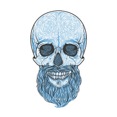 Human skull with beard tribal style. Vector hand drawn illustration. Boho tattoo blackwork