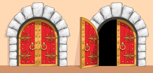 Medieval red wood gate decorated with wrought iron