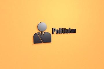 Illustration of Politician with dark text on orange background