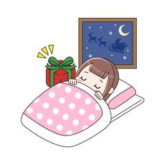 眠っている女の子とプレゼント