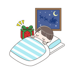 眠っている男の子とプレゼント