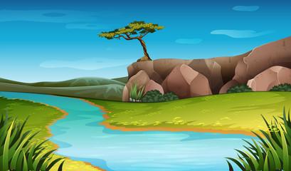 River nature landscape scene