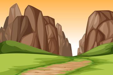 Sunset canyon landscape scene