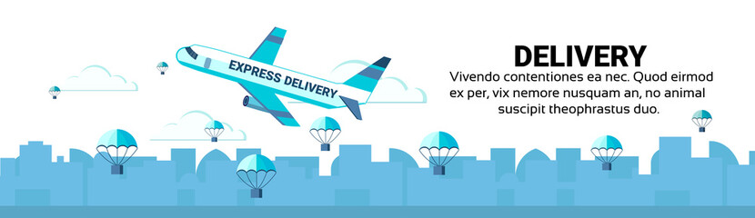 Package flying parachutes airplane unloading express fast parcel delivery service concept international shipping isolated horizontal banner copy space