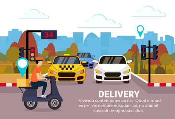 delivery man ride scooter box concept geo tag destination crossing city traffic lights fast transport motorcycle cityscape copy space horizontal flat