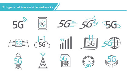 5G mobile networks concept icon