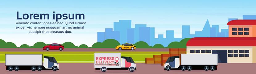 warehouse cargo minivan logistics loading delivery transportation concept international shipping cityscape flat horizontal banner copy space