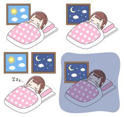 就寝中の女の子 セット