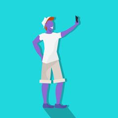 violet man making selfie standing pose male cartoon character full length flat