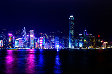 Hong Kong cityscape view from the Victoria harbor at night