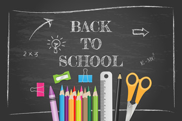 School supplies on chalkboard, back to school concept. Vector illustration