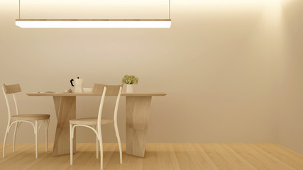 Dining room and workplace minimal style in hotel or apartment. Dining room interior simple design. 3D Illustration
