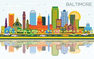 Fototapete - Baltimore Maryland City Skyline with Color Buildings, Blue Sky and Reflections.