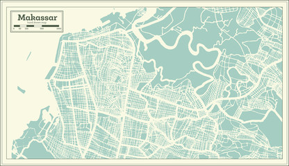 Makassar Indonesia City Map in Retro Style. Outline Map.