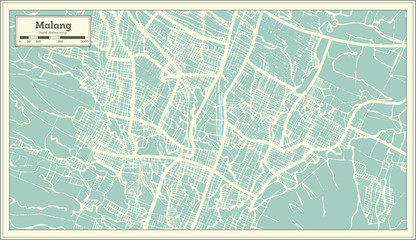 Malang Indonesia City Map in Retro Style. Outline Map.