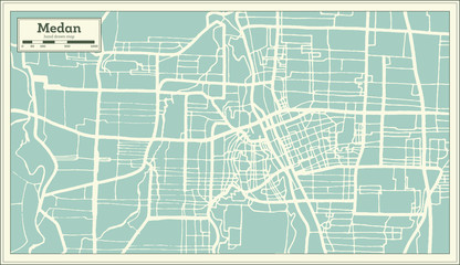 Medan Indonesia City Map in Retro Style. Outline Map.