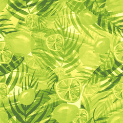 Watercolor abstract seamless background, pattern, spot, splash of paint, blot, divorce,color. Green leaves of a tree, palms, abstract fruit, citrus, orange, lime, lemon, abstract splash.  green paint