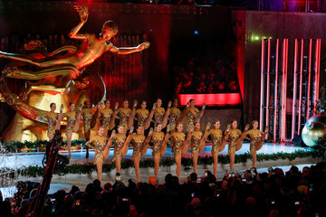The Radio City Rockettes perform during the Christmas tree lighting show at Rockefeller Center in the Manhattan borough of New York