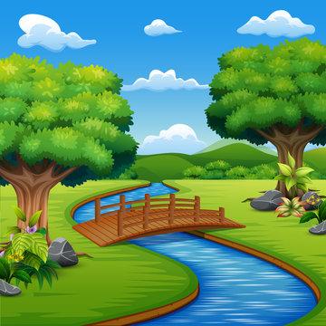 Background scene with bridge across in the park