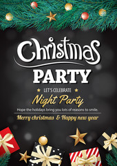 Merry christmas party gift box and tree on black background invitation theme concept. Happy holiday greeting banner and card design template.