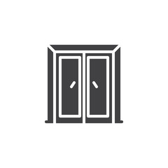 Closed wood door vector icon. filled flat sign for mobile concept and web design. Double door simple solid icon. Symbol, logo illustration. Pixel perfect vector graphics