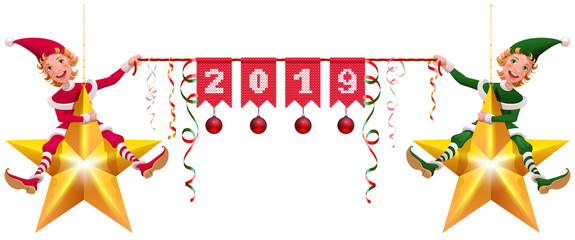2019 year christmas decoration two elves holding banner