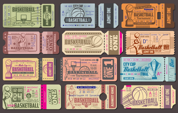Admission tickets for baseball sport game