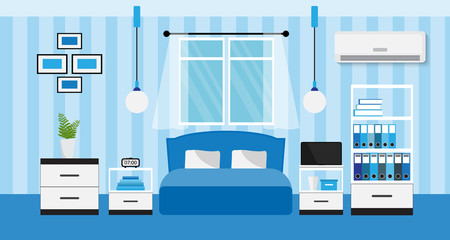 Flat design of blue bedroom interior, vector illustration