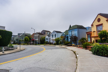 Residential street in the Golden Gate Heights neighborhood, San Francisco, California
