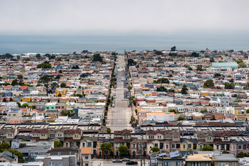 Aerial view of Sunset District, the Pacific Ocean coastline visible in the background, San Francisco, California