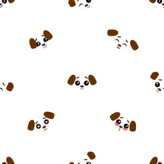 Vector seamless background. Kawai puppy on the white background, cartoon dog.