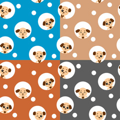 Vector set collection design seamless pattern with cute funny animal dog. Vector illustration with puppy.