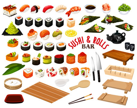 Japanese cuisine from sushi and rolls bar vector