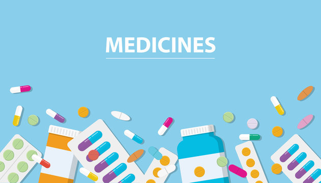 medicines drug collection with banner free space with blue background