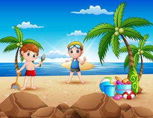 Cartoon of two boy playing on the beach