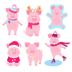New Year's set of cute pigs characters. Santa Claus costume, snow angel, piggy skating, with a gold medal, in a hat