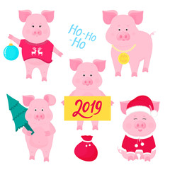 New Year's set of cute pigs. Santa Claus costume. Piggy with a Christmas ball, with a gold medal, in a sweater with deer