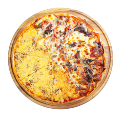 double topping pizza on the wooden desk isolated