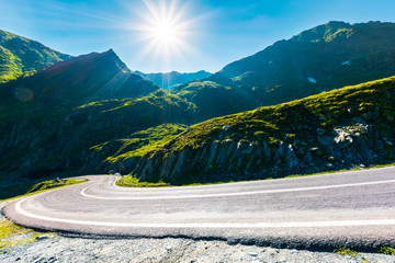 Transfagarasan road in mountains winding uphill