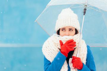 Sad Sick Winter Woman Holding Transparent Umbrella
