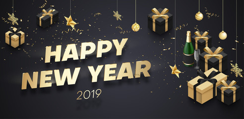 Happy New Year 2019 banner with golden 3d gifts and Christmas decorations.