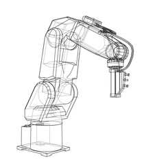 3D outline Robotic arm. Vector rendering of 3d