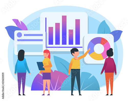 business charts, diagrams analytics  people stand near various charts   poster for social media