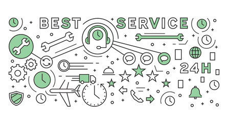 Flat Line Design Of Service Concept. Geometric Doodle Style. Business And Company Infographic Design